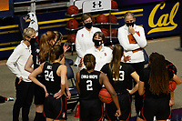 BERKELEY, CA - DECEMBER 13: Head coach Tara VanDerveer of the Stanford Cardinal talks with the team before the start of the second half during a game between University of California-Berkeley and Stanford Women's Basketball at Haas Pavilion on December 13, 2020 in Berkeley, California.