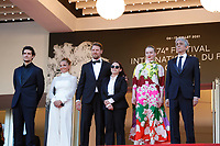 """CANNES, FRANCE - JULY 14: Louis Garrel, Monika Mecs, Gijs Naber, Ildiko Enyedi, Luna Wedler and Sergio Rubini at the """"A Felesegam Tortenete/The Story Of My Wife"""" screening during the 74th annual Cannes Film Festival on July 14, 2021 in Cannes, France.<br /> CAP/GOL<br /> ©GOL/Capital Pictures"""