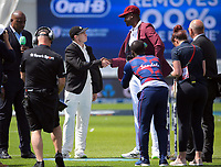 NZ captain Tom Latham shakes hands with Windies cpatian Jason Holder after Holder won the coin toss at the start of day one of the International Test Cricket match between the New Zealand Black Caps and West Indies at the Basin Reserve in Wellington, New Zealand on Friday, 11 December 2020. Photo: Dave Lintott / lintottphoto.co.nz