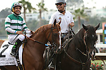 """DEL MAR, CA  JULY 30: Stellar Wind and Victor Espinoza in the post parade of the Clement L. Hirsch Stakes (Gl) """"Win and You're in Breeders' Cup Distaff Division"""" at Del Mar Turf Club in Del Mar, CA on July 30, 2016. (Photo by Casey Phillips/Eclipse Sportswire/Getty Images)DEL MAR, CA  JULY 30: #2 Stellar Wind with Victor Espinoza beat Beholder and Gary Stevens in the Clement L. Hirsch Stakes (Gl) """"Win and You're in Breeders' Cup Distaff Division"""" at Del Mar Turf Club in Del Mar, CA on July 30, 2016. (Photo by Casey Phillips/Eclipse Sportswire/Getty Images)"""