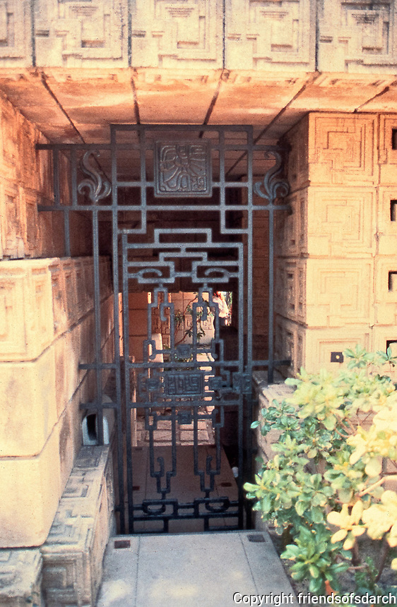 Frank Lloyd Wright: Ennis-Brown House Entry. Mayan influence, textile block, wroght iron gate.  Photo 1976.