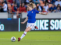 HOUSTON, TX - FEBRUARY 03: Sam Mewis #3 of the United States warms up during a game between Costa Rica and USWNT at BBVA Stadium on February 03, 2020 in Houston, Texas.