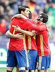 Spain's Alvaro Morata, Nolito and Pedro Rodriguez celebrate goal during friendly match. June 1,2016.(ALTERPHOTOS/Acero)