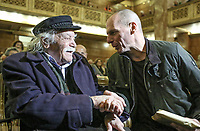 Pictured: Manolis Glezos with Yanis Varoufakis. STOCK PICTURE<br /> Re: Manolis Glezos, who took down a flag with a swastika from the Acropolis 30th of May 1941.