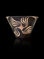 Minoan Kamares Ware with polychrome decorations , Phaistos 1900-1700 BC; Heraklion Archaeological  Museum, black background.<br /> <br /> This style of pottery is named afetr Kamares cave where this style of pottery was first found