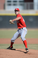 Los Angeles Angels pitcher Alan Busenitz (47) during an Instructional League game against the Milwaukee Brewers on October 11, 2013 at Tempe Diablo Stadium Complex in Tempe, Arizona.  (Mike Janes/Four Seam Images)