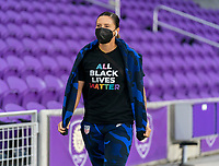 ORLANDO, FL - JANUARY 18: Ali Krieger #11 of the USWNT walks into the venue before a game between Colombia and USWNT at Exploria Stadium on January 18, 2021 in Orlando, Florida.
