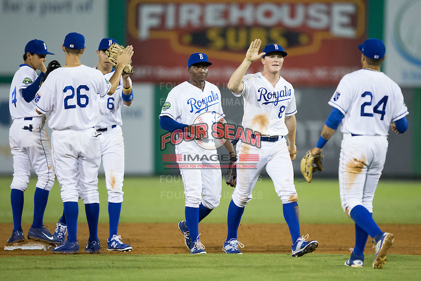 The Burlington Royals celebrate their win over the Bluefield Blue Jays at Burlington Athletic Stadium on June 28, 2016 in Burlington, North Carolina.  The Royals defeated the Blue Jays 4-0.  (Brian Westerholt/Four Seam Images)
