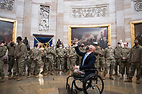 United States Representative Brian Mast (Republican of Florida) introduces members of the National Guard to the Rotunda at the U.S. capitol, as the House of Representatives vote on H. Res. 24, Impeaching Donald John Trump, President of the United States, for high crimes and misdemeanors, at the U.S. Capitol in Washington, DC, Wednesday, January 13, 2021. Credit: Rod Lamkey / CNP /MediaPunch