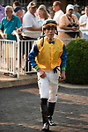 ARLINGTON HEIGHTS, IL - AUGUST 11: Birthday Boy and Arlington Million winning Jockey Irad Ortiz Jr. in the paddock prior to winning the $1,000,000 Grade I Arlington Million at Arlington Park on August 11, 2018 in Arlington Heights, Illinois. (Photo by Carson Dennis/Eclipse Sportswire/Getty Images)