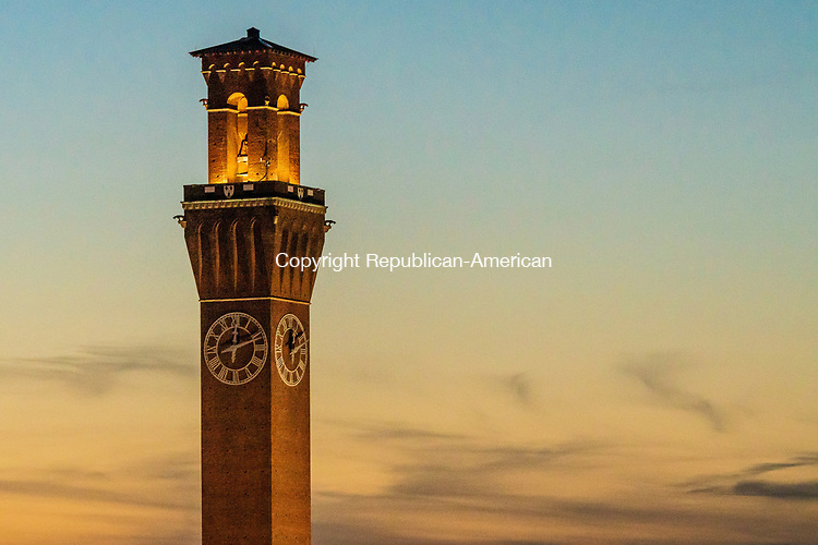 WATERBURY, CT. 13 September 2019-091319BS142 - The Iconic landmark clocktower in Waterbury shines in the glowing twilight on a September evening. Bill Shettle Republican-American