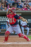 Peoria Chiefs catcher Chris Chinea (12) throws down to second base during a Midwest League game against the Wisconsin Timber Rattlers on July 9, 2016 at Fox Cities Stadium in Appleton, Wisconsin. Peoria defeated Wisconsin 3-2. (Brad Krause/Four Seam Images)