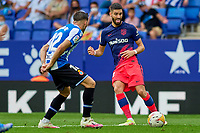 12th September 2021: Barcelona, Spain:  Yannick Carrasco of Atletico de Madrid is covered by Óscar Gil during the Liga match between RCD Espanyol and Atletico de Madrid at RCDE Stadium in Cornella, Spain.