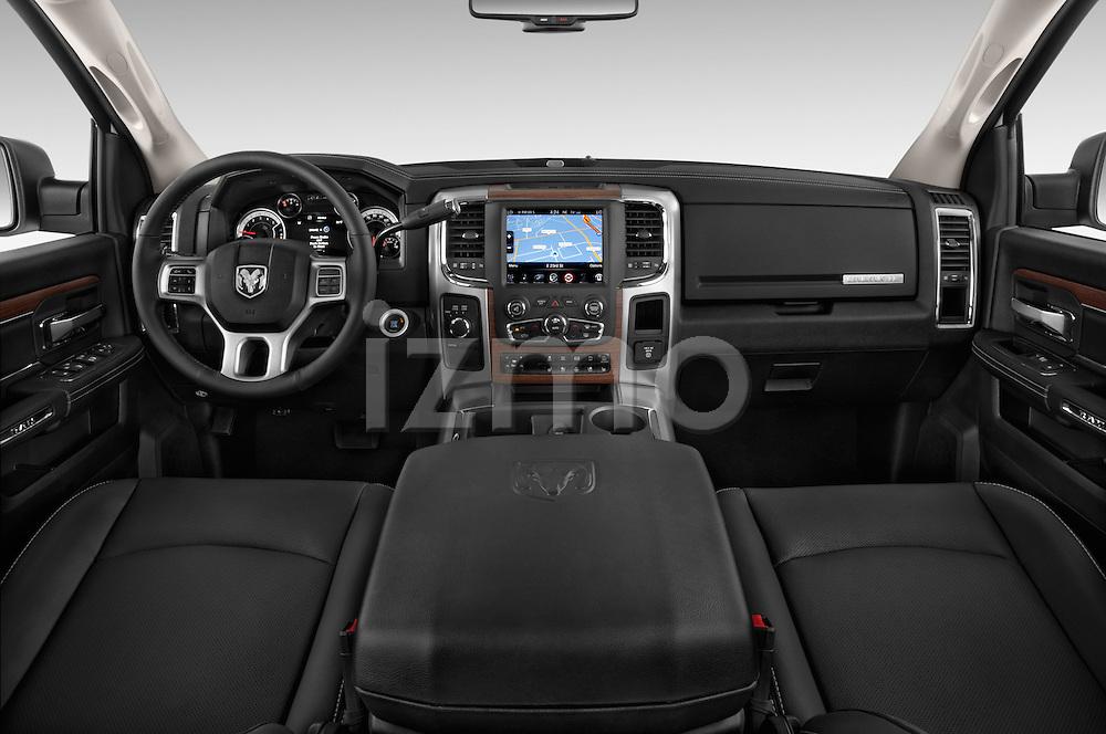 Stock photo of straight dashboard view of a 2015 Ram 2500 Laramie 4 Door Truck