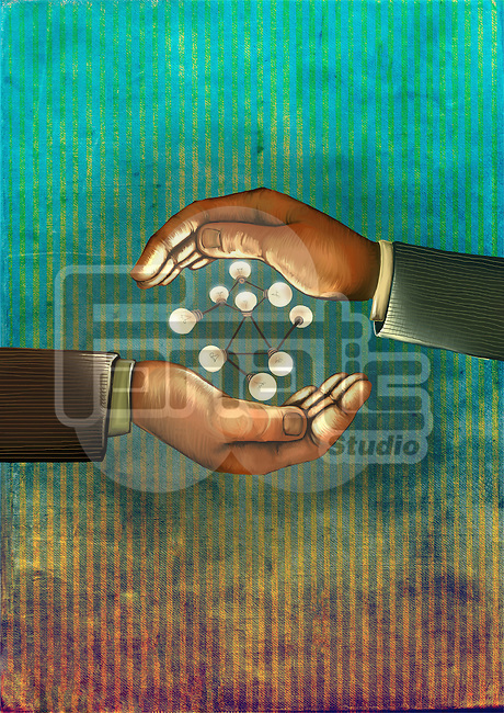 Illustrative image of human hand's with light bulbs in atom structure representing business networking