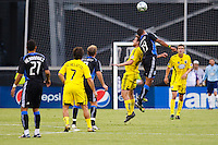 27 MAY 2009: #12 Eddie Gaven, Columbus Crew forward and #19 Ryan Johnson of the San Jose Earthquakes in action during the San Jose Earthquakes at Columbus Crew MLS game in Columbus, Ohio on May 27, 2009. The Columbus Crew defeated San Jose 2-1