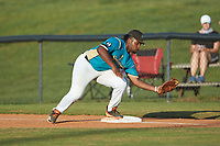 Mooresville Spinners first baseman Jermie Greene (6) (Caldwell CC) fields a throw during the game against the Concord A's at Moor Park on July 31, 2020 in Mooresville, NC. The Spinners defeated the Athletics 6-3 in a game called after 6 innings due to rain. (Brian Westerholt/Four Seam Images)