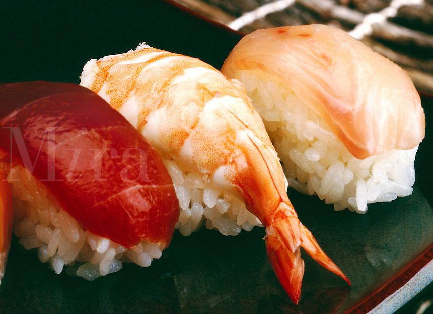 Sushi Variety Nigirisushi; tuna, yellowtail, shrimp