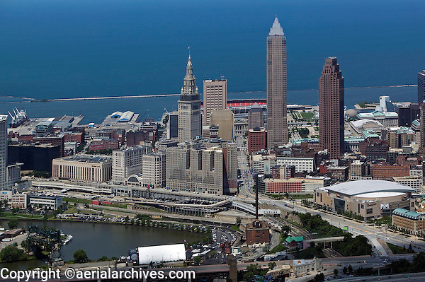 aerial photograph of the downtown Cleveland Ohio, skyline with Cuyahoga river and Lake Erie
