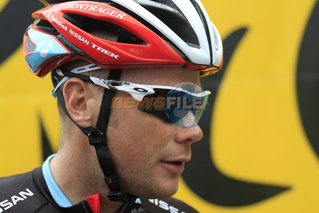 Christopher Horner (USA) Radioshack-Nissan at sign on before the start of Stage 2 of the 99th edition of the Tour de France 2012, running 207.5km from Vise to Tournai, Belgium. 2nd July 2012.<br /> (Photo by Eoin Clarke/NEWSFILE)