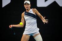 12th February 2021, Melbourne, Victoria, Australia; Veronika Kudermetova of Russia returns the ball during round 3 of the 2021 Australian Open on February 12 2020, at Melbourne Park in Melbourne, Australia.