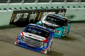 HOMESTEAD, FLORIDA - JUNE 13: Austin Hill, driver of the #16 United Rentals Toyota, leads Ben Rhodes, driver of the #99 Tenda Pet Care Ford, during the NASCAR Gander RV & Outdoors Truck Series Baptist Health 200 at Homestead-Miami Speedway on June 13, 2020 in Homestead, Florida. (Photo by Michael Reaves/Getty Images)