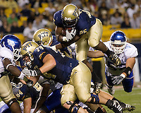 September 06, 2008: Pitt running back LeSean McCoy leaps into the endzone to score on a 1-yard touchdown run. The Pitt Panthers defeated the Buffalo Bulls 27-16 on September 06, 2008 at Heinz Field, Pittsburgh, Pennsylvania.