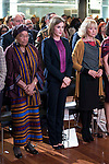 The left to the right, president of Liberia, Ellen Johnson-Sirleaf, Queen Letizia of Spain and Maria Teresa Fernandez de la Vega during the minute's silence in remembrance for the victims of the terrorist attack in Paris. in Madrid, November 16, 2015.<br /> (ALTERPHOTOS/BorjaB.Hojas)