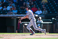Salt River Rafters left fielder Luke Raley (53), of the Minnesota Twins organization, starts down the first base line during an Arizona Fall League game against the Surprise Saguaros on October 9, 2018 at Surprise Stadium in Surprise, Arizona. The Rafters defeated the Saguaros 10-8. (Zachary Lucy/Four Seam Images)