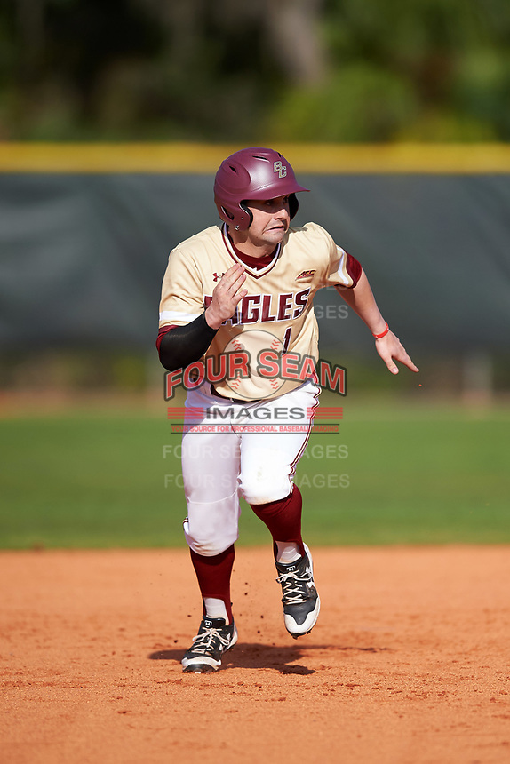 Boston College Eagles pinch runner Jake Alu (1) running the bases during a game against the Central Michigan Chippewas on March 3, 2017 at North Charlotte Regional Park in Port Charlotte, Florida.  Boston College defeated Central Michigan 5-4.  (Mike Janes/Four Seam Images)