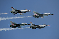 FORT LAUDERDALE, FLORIDA - MAY 07:  The U.S. Air Force Thunderbirds fly their F-16s in formation at the Fort Lauderdale Air Show on May 7, 2016 in Fort Lauderdale, Florida. <br /> <br /> <br /> People:  Air Force Thunderbirds