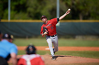 Ball State Cardinals starting pitcher Mike Pachmayer (26) during a game against the Mount St. Mary's Mountaineers on March 9, 2019 at North Charlotte Regional Park in Port Charlotte, Florida.  Ball State defeated Mount St. Mary's 12-9.  (Mike Janes/Four Seam Images)