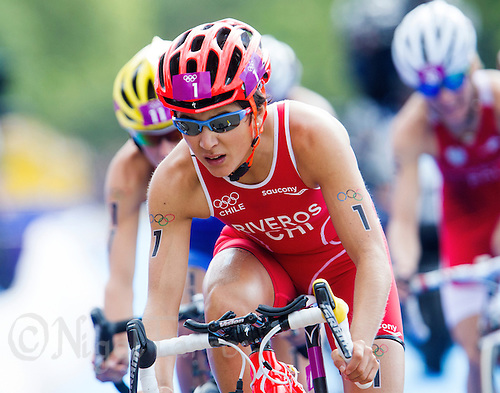 04 AUG 2012 - LONDON, GBR - Barbara Riveros Diaz (CHI) of Chile on the bike during the women's London 2012 Olympic Games Triathlon in Hyde Park, London, Great Britain .(PHOTO (C) 2012 NIGEL FARROW)