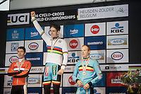 Wout Van Aert (BEL/Crelan-Vastgoedservice) is the new World Champion<br /> sharing the podium with Lars Van der Haar (2nd) & Kevin Pauwels (3rd)<br /> <br /> Men's Elite Race<br /> <br /> UCI 2016 cyclocross World Championships,<br /> Zolder, Belgium