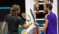 Rotterdam, The Netherlands, 5 march  2021, ABNAMRO World Tennis Tournament, Ahoy,  Quarter final: Karen Kachanov (RUS) Stefanos Tsitsipas (GRE). Photo: www.tennisimages.com/henkkoster