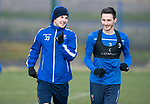 St Johnstone Training…….24.01.20<br />Matty Kennedy pictured running alongside Scott Tanser during training this morning at McDiarmid Park ahead of tomorrow's game against Kilmarnock.<br />Picture by Graeme Hart.<br />Copyright Perthshire Picture Agency<br />Tel: 01738 623350  Mobile: 07990 594431