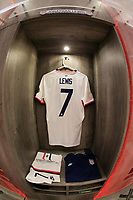 GUADALAJARA, MEXICO - MARCH 24: The locker of Jonathan Lewis #7 of the United States before a game between Mexico and USMNT U-23 at Estadio Jalisco on March 24, 2021 in Guadalajara, Mexico.