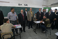 "The Palestinian Prime Minister Ismail Haniyeh, in a visit to one of the secondary school in Gaza city at the beginning of secondary certified exams.june,08,2009.""photo by Thaer alhasani/propaimages""."