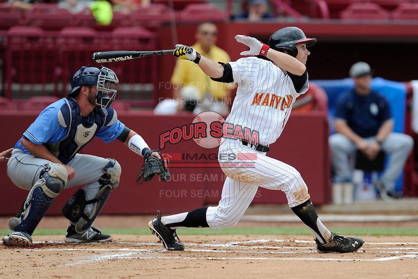 Second baseman Brandon Lowe (16) of the Maryland Terrapins in an NCAA Division I Baseball Regional Tournament game against the Old Dominion Monarchs on Friday, May 30, 2014, at Carolina Stadium in Columbia, South Carolina. Maryland won, 4-3. (Tom Priddy/Four Seam Images)