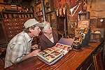 Visitors to the historic 1855 Chew Kee Chinese herb store, Fiddletown, Calif.