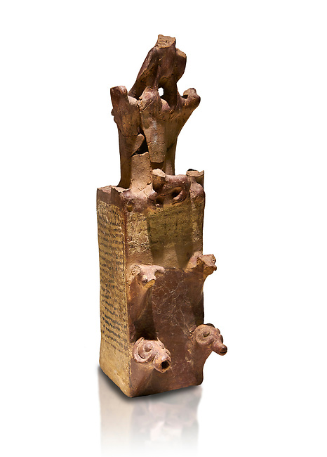Hittite terra cotta tower shaped vessel representing a two storey tower of the city walls complete with merlons - 14th century BC - Hattusa ( Bogazkoy ) - Museum of Anatolian Civilisations, Ankara, Turkey . Against white background