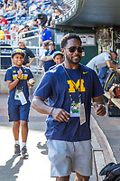 Michigan Wolverines Heisman Trophy Winner Desmond Howard before Game 2 of the NCAA College World Series Finals on June 25, 2019 at TD Ameritrade Park in Omaha, Nebraska. Vanderbilt defeated Michigan 4-1. (Andrew Woolley/Four Seam Images)