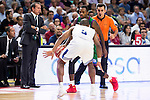 Real Madrid's player Dontaye Draper and Unicaja Malaga's player Oliver Lafayette during match of Liga Endesa at Barclaycard Center in Madrid. September 30, Spain. 2016. (ALTERPHOTOS/BorjaB.Hojas)