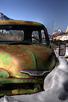 Rusty Chevy Truck Emerges From the Snow Near Zion National Park