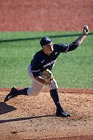 Xavier Musketeers starting pitcher Zac Lowther (34) delivers a pitch to the plate against the Charlotte 49ers at Hayes Stadium on March 3, 2017 in Charlotte, North Carolina.  The 49ers defeated the Musketeers 2-1.  (Brian Westerholt/Four Seam Images)