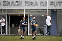 10th November 2020; Granja Comary, Teresopolis, Rio de Janeiro, Brazil; Qatar 2022 qualifiers; Gabriel Jesus e Douglas Luiz of Brazil during training session in Granja Comary