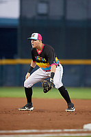 Erie Piñatas first baseman Josh Lester (17) during an Eastern League game against the Las Ardillas Voladoras de Richmond on August 28, 2019 at UPMC Park in Erie, Pennsylvania.  Richmond defeated Erie 4-3 in the second game of a doubleheader.  (Mike Janes/Four Seam Images)