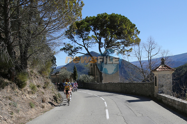 Team Jumbo-Visma with Yellow Jersey race leader Primoz Roglic (SLO) lead the peloton during Stage 7 of Paris-Nice 2021, running 119.2km from Le Broc to Valdeblore La Colmiane, France. 13th March 2021.<br /> Picture: ASO/Fabien Boukla   Cyclefile<br /> <br /> All photos usage must carry mandatory copyright credit (© Cyclefile   ASO/Fabien Boukla)