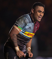 Harlequins' Francis Saili<br /> <br /> Photographer Bob Bradford/CameraSport<br /> <br /> Gallagher Premiership Round 9 - Harlequins v Exeter Chiefs - Friday 30th November 2018 - Twickenham Stoop - London<br /> <br /> World Copyright © 2018 CameraSport. All rights reserved. 43 Linden Ave. Countesthorpe. Leicester. England. LE8 5PG - Tel: +44 (0) 116 277 4147 - admin@camerasport.com - www.camerasport.com
