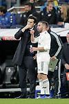Real Madrid's coach Santiago Solari and Daniel Carvajal during La Liga match. December,15,2018. (ALTERPHOTOS/Alconada)